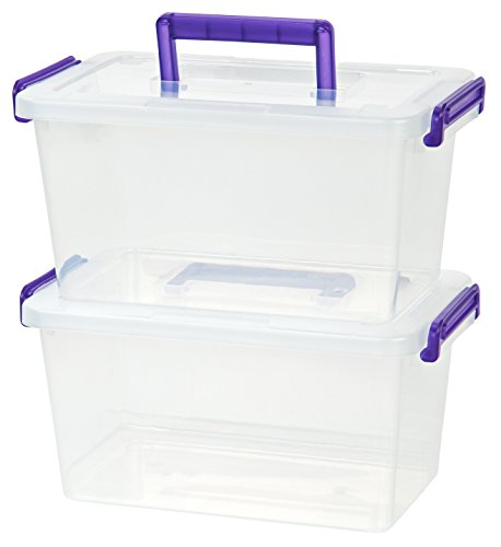 IRIS Medium Deep Modular Latching Box - Purple Handle, 6 Pack, Clear
