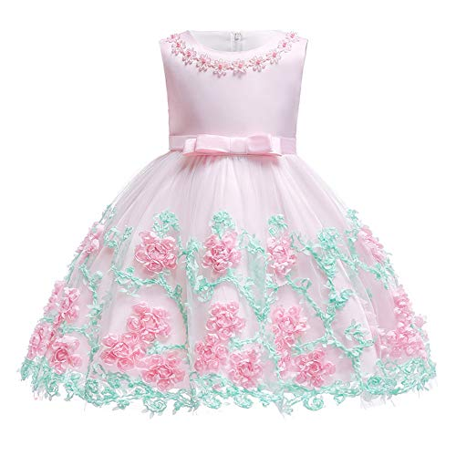 Lace Toddler Dress Christmas Children Holiday Clothes Tea Length Sleeveless Cute Dance Dresses Toddler Little Baby Girl Dress Pink 18-24 Months -
