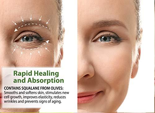 41Zc8uM2iVL - LuxeOrganix Natural Under Eye Cream for Dark Circles and Puffiness: Eye Brightening Cream for Dark Circles Under Eye Treatment Organic. Best Under Eye Cream for Wrinkles Made in USA (1.7oz)