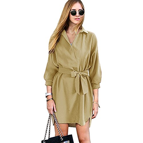 with 3 Shirt Ayliss Neck Collar Womens Dress V Belt Loose Khaki Elegant 4 Sleeve Dress BqWv7rwq5x