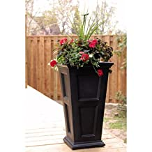 Fairfield Tall Planter (Black) - Moulded HIGH GRADE POLYETHYLENE with Double-wall design - Creates Sub Irrigation Water System to ENCOURAGE ROOT GROWTH - Cleans Up with the Simple Rinse of A Garden Hose