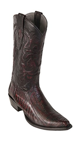 Men's Sinp Toe Black Cherry Genuine Leather Ostrich Leg Skin Western Boots - Exotic Skin Boots