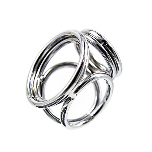 Adult Sex Toys For Men Cock Ring Male Chastity Device Stainless Steel Penis Rings Cock Cage Delay Ejaculation Metal Cockring (L) by Fly Array