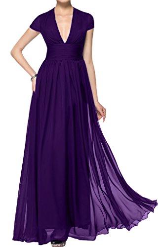 ivyd ressing Mujer corta aermel V de pico largo línea A Prom vestido Fiesta Vestido para vestido de noche morado