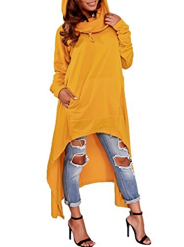 Playworld Womens Irregular Hem Loose Long Sleeve Hooded Tunic Top Dress YellowXL