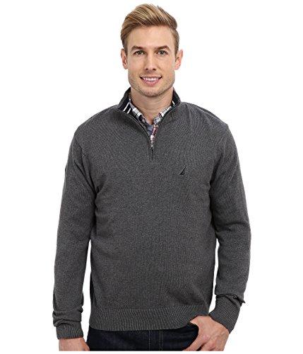 Nautica Men's Long Sleeve Solid Quarter Zip Pullover Sweater (X-Large, Graphite Heather)