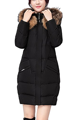 OMZIN Women Winter Candy Faux Fur Hooded Coat Parka Down Jacket Overcoat Black L (Canada Goosedown)