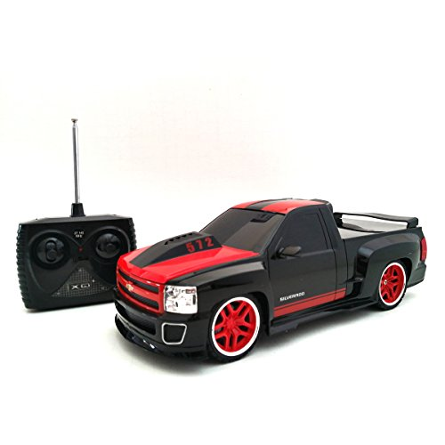 Chevy Silverado Electric RC Truck -  1/18 Scale Model Truck - Black and Red with Racing Stripes (Chevy Silverado Model Truck)
