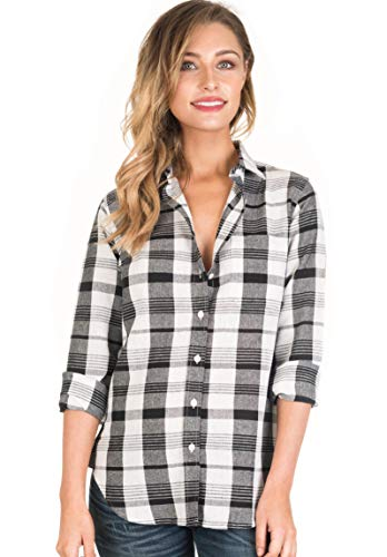 CAMIXA Women Plaid Shirt Linen Button Down Buffalo Check Long Sleeve Ladies Top S White Black