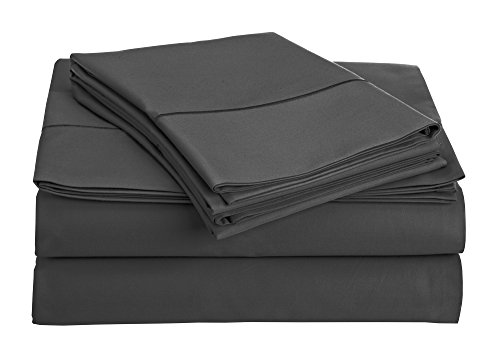Addy Home 4 Piece T800 100% Egyptian Cotton Sheet Set, King, Charcoal