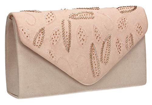 Charlie Womens Sequin Prom Party Faux Suede Bag SWANKYSWANS Nude Clutch BqwdHd