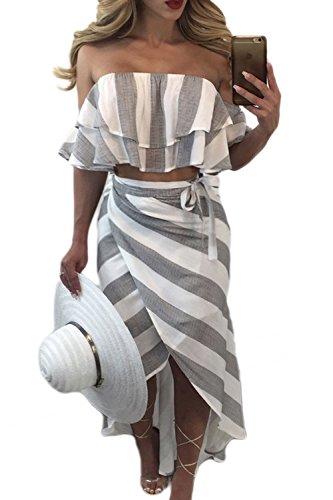 Maxi vestidos de rayas sin mangas de las mujeres de la Bohemia de la playa de raja de hombro