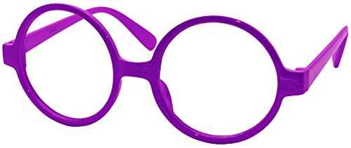 FancyG Retro Geek Nerd Style Round Shape Glass Frame NO LENSES - - Geek Glasses Purple