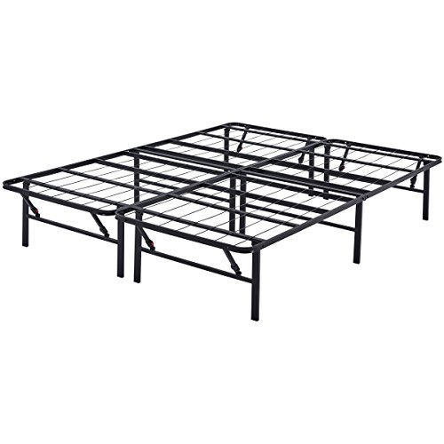 """Mainstay 14"""" High Profile Foldable Steel Bed Frame, Powder-Coated Steel, Queen"""