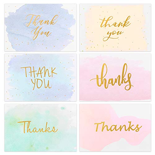 Partykindom Thank You Cards 6 Design - 48 Gold Foiled Watercolor Bulk Thank You Notes Greeting Cards with Envelopes for Wedding, Baby Shower, Bridal shower, Anniversary, Graduation, Business, 4x6 Inch]()