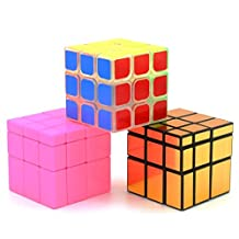 Heddi Magic Speed Cube Puzzle Transparent Mirror Cubes -Glod/Pink 3*3*3 Brain Teaser Puzzle Cube Bundle Box Pack