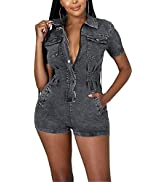 HugeNice Womens Shorts Denim Jumpsuit Sexy Jean Rompers Overalls Button Down Bodycon Short Outfit...