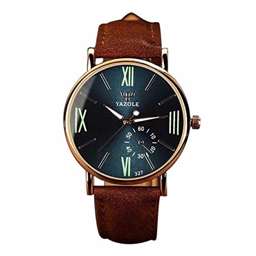 (Bokeley Men's Watch, Luxury Mens Fashion PU Leather Quartz Analog Wristwatch Noctilucent Watches (Brown 1) )
