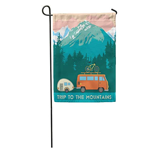 (Semtomn Garden Flag Green Retro Trips to The Mountains Trailer and Bike Home Yard House Decor Barnner Outdoor Stand 12x18 Inches Flag)