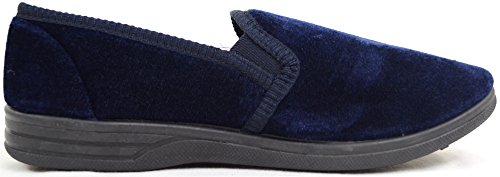 Mens Casual Twin Gusset Slip On Slippers with Rubber Sole Dunkelblau HahpoU