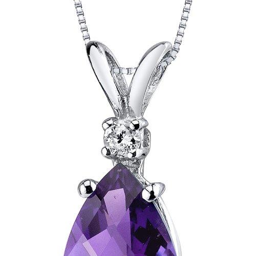 Or blanc 14carats forme de poire Améthyste 1,50carats-Diamant