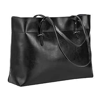 S-ZONE Women's Vintage Genuine Leather Tote Shoulder Bag Handbag (Black)