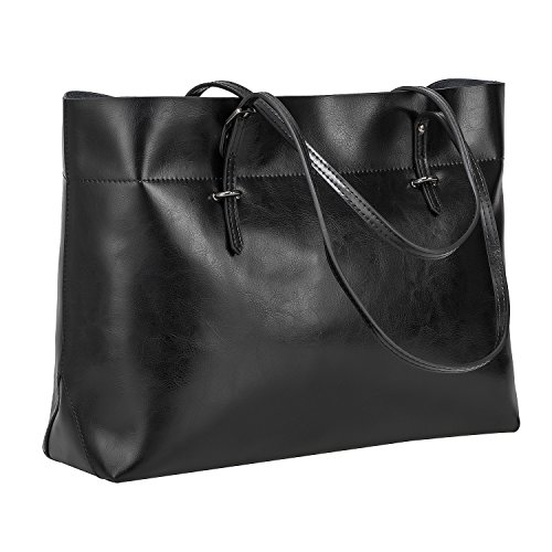 S-ZONE Women's Vintage Genuine Leather Tote Shoulder Bag Handbag Upgraded Version (Black) Classic Top Zip Shoulder Bag