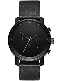 Chrono Watches | 45 MM Mens Analog Watch Chronograph | Black Leather