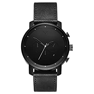 Men's watch with black leather strap