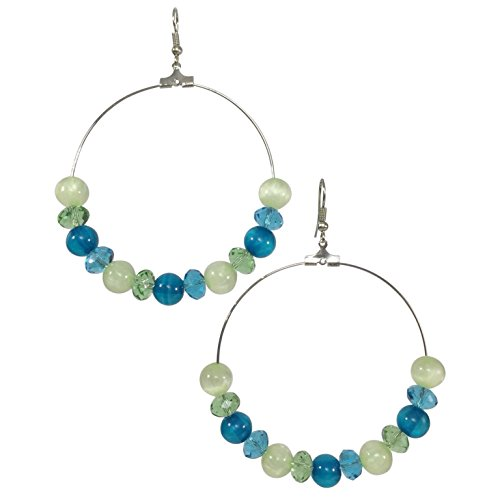 [Aqua Blue & Lime Green Beaded Drop Circle Hoop Dangle Earrings] (Rainbow Fish Book Costume)