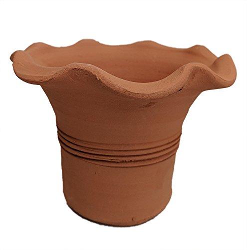 """Fluted Palm Quart Pot - Terracotta - Handmade - 7"""" x 5 1/2"""""""