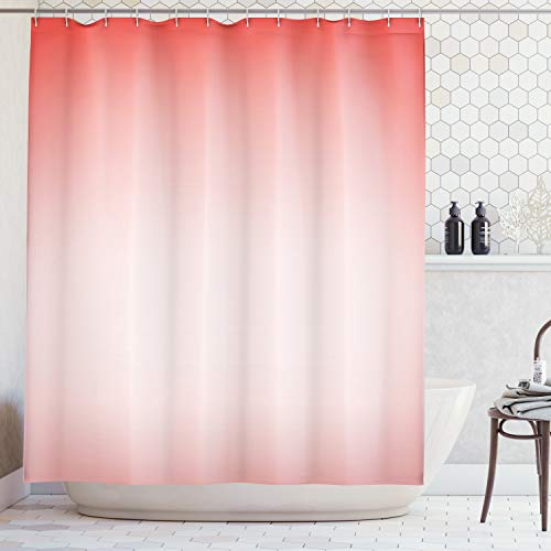Ambesonne Peach Shower Curtain, Abstract Ombre Composition in Feminine Colors with Dreamy Display Art Print, Fabric Bathroom Decor Set with Hooks, 84 Inches Extra Long, Dark Coral