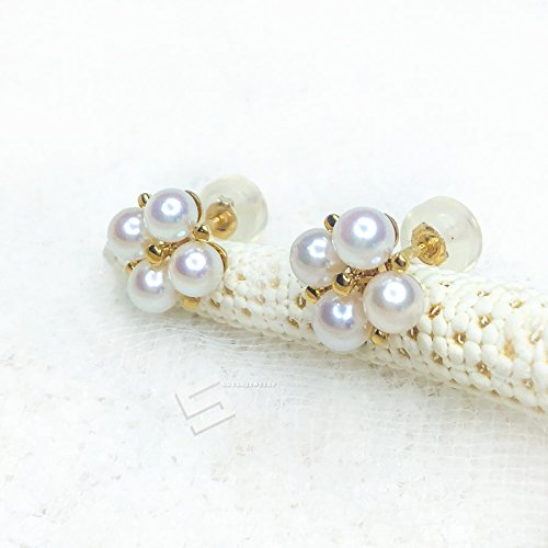 FlawLess Akoya Pearls And Gold Earring Studs, AAAA Grade Japanese Akoya Pearls In 14KT Solid Gold Cluster Earrings, Akoya Pearl Gold Studs
