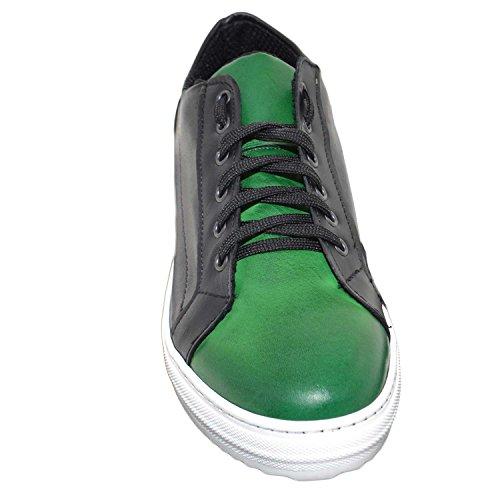 Malu Shoes Sneakers Bassa Uomo Scarpe Lacci Vera Pelle Bicolore Nero e Verde comode Moda Made in Italy