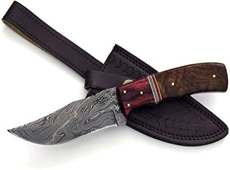 Shokunin USA Damascus Steel Knife Damascus Knife Hunting Knife Handmade Damascus Steel Clip Point Blade 9 Walnut Wood Composite Handle Custom
