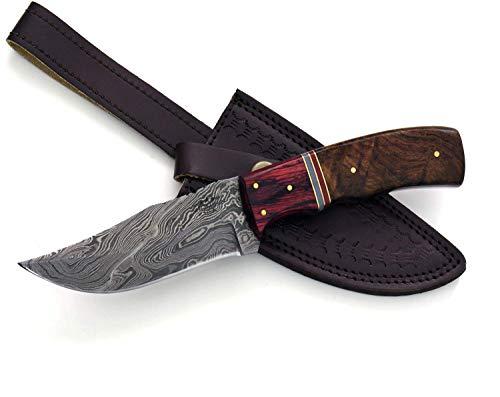 Shokunin USA Damascus Steel Knife Damascus Knife Hunting Knife Handmade Damascus Steel Clip Point Blade 9