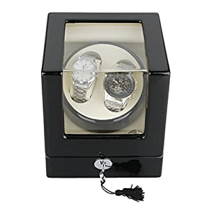 CRITIRON Luxury Automatic Watch Winder with 2 Leather Storage (Wood Shell + Leather Pillow + Piano Paint + Tempered Glass)