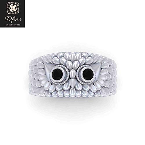 Solid 14k White Gold Owl Wedding Band Mens Black Onyx Eyes Symbol Of Wisdom Owl Ring