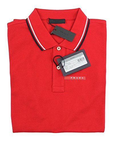 Prada Men's Cotton Piqué Short Sleeve Slim Fit Polo Shirt, Red SJJ887 (Large - White Polo Prada