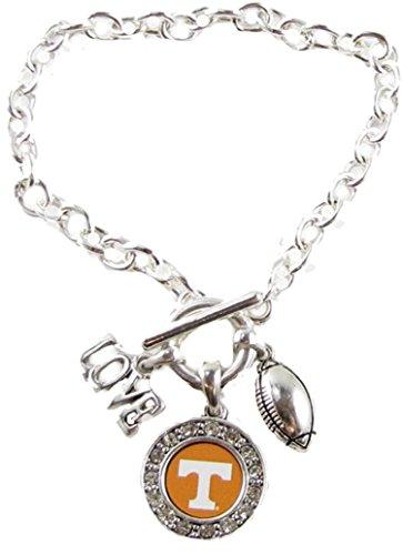 Tennessee Volunteers Multi Charm Love Football Silver Bracelet Jewelry UT Vols (Charm Tennessee Volunteers)