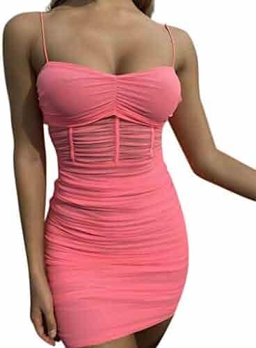 8897db94a40 Lavany Women Sexy Ruched Bodycon Sling Mini Dress Clubwear,Sheer Mesh Summer  Dress