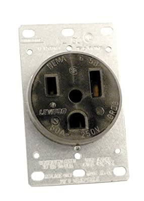 Leviton 5374 50 Amp, 250 Volt, Flush Mounting Receptacle, Straight Blade, Industrial Grade, Grounding, Black