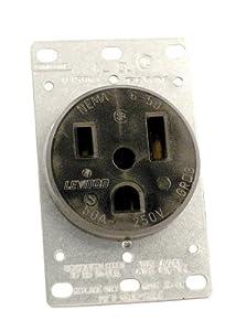 amazon com leviton 5374 50 amp 250 volt flush mounting leviton 5374 50 amp 250 volt flush mounting receptacle straight blade industrial grade grounding black