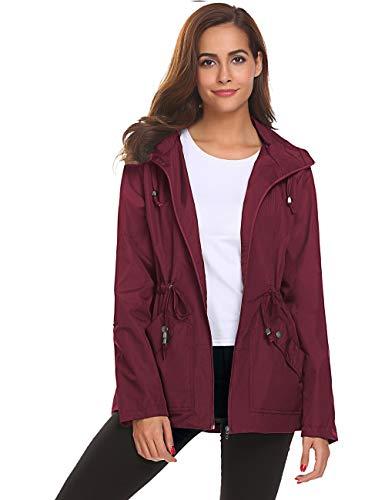 School Rain Jacket,Women Slim Fit Stylish Mesh Lining Rain Coat(Wine Red,XL)