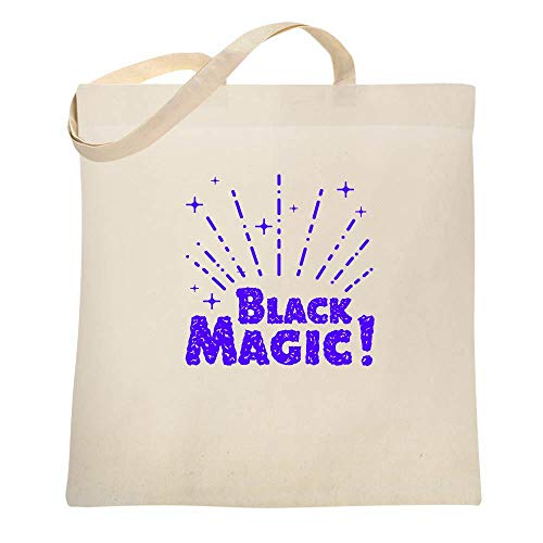Black Magic! Retro Witchcraft Halloween Natural 15x15 inches Canvas Tote Bag ()