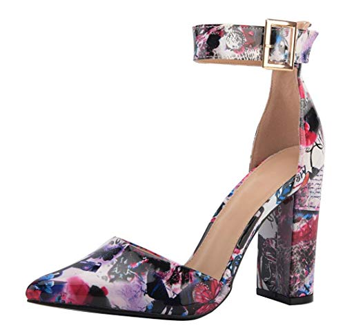 WSKEISP Womens Fashion Pointed Toe Chunky Ankle Strap Buckle High Heels Shoes with Graffiti Pattern White Flower Size US7