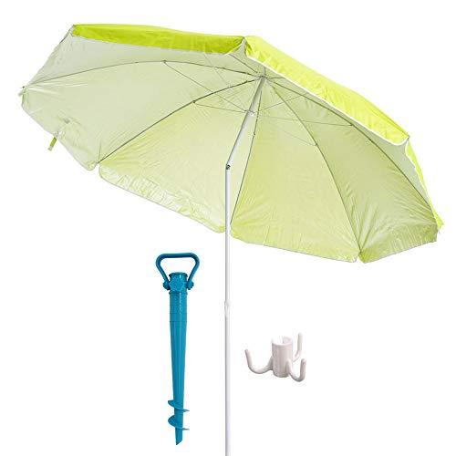 41ZcEOrt8tL. SS500 Esta sombrilla está hecha de protección UV y poliéster antidecoloración que es perfecta para bloquear los dañinos rayos UV del sol. Es inclinable, regulable en altura y plegable. Una propuesta novedosa, práctica y funcional para disfrutar de laplayay el sol, que te garantiza una buena sombra.