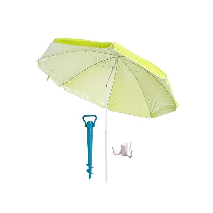41ZcEOrt8tL Esta sombrilla está hecha de protección UV y poliéster antidecoloración que es perfecta para bloquear los dañinos rayos UV del sol. Es inclinable, regulable en altura y plegable. Una propuesta novedosa, práctica y funcional para disfrutar de laplayay el sol, que te garantiza una buena sombra.