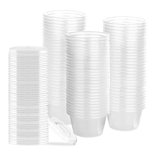 100 Pack 2 Ounce Disposable Portion Cup with Lid, Jello Shot Cups, Souffle Cups, Sampling Cups, Condiment Cups, 100 Cups Clear