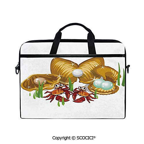 Personalized Laptop Bag 14-15 Inch Messenger Bag Sea Life Theme Cartoon Style Three Gold Shells with Pearls and Crabs Print Shoulder Sleeve Case Tablet Briefcase
